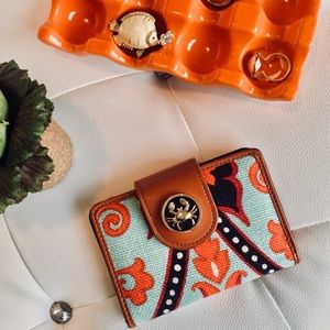 FINAL Spartina Crab lovers Linen/leather wallet